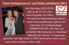 """""""Peers Schlagersterne"""" auf radio leinehertz 106.5"""