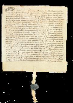 Parchemin, 179 x 184 mm (repli : 27 mm) ; scellé d'un fragment de sceau de cire verte sur double queue de parchemin. Arch. nat. S 4955, n°34 ; liasse 5, n°14.
