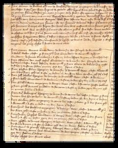 Procès-verbaux d'interrogatoire de 7 templiers de Renneville et de Sainte-Vaubourg, de 13 templiers du baillage de Caen. 18 et 28-29 octobre 1307. Temple de Paris