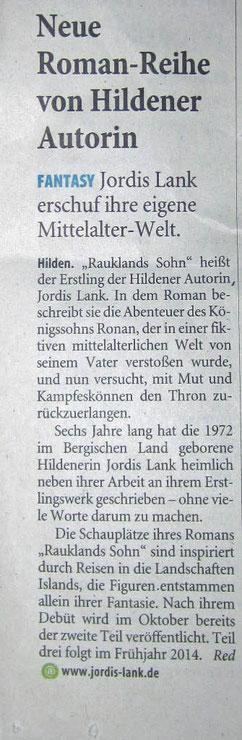 Westdeutsche Zeitung, 29.04.2013. Herzlichen Dank für die Genehmigung zur Verwendung