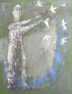 Calling Bird  41×31.8cm  OIl on canvas 2018