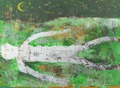 New moon on Grass plain   16×22cm Aqyla on paperboard   Private collection
