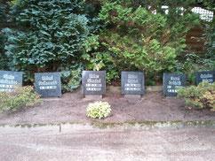 Auf der Grabanlage liegt zusammen mit fünf Zwangsarbeitern aus Polen und der ehemaligen Sowjetunion der serbische Kriegsgefangene Soltoslav Simic, gestorben am 6. November 1942. Foto: V. Fleig, 2013