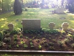 Sammelgrab für vier slowakische Kriegsgefangene aus dem Stalag X B sowie einen ukrainischen Zwangsarbeiter. Die weiteren Grabsteine gehören zu aufgelösten Gräbern sowjetischer Kriegsgefangener. Foto: J. Cramer, 2020