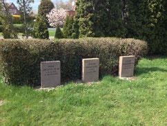 Grabanlage für den sowjetischen Kriegsgefangenen Jegor Moisejew (9085 XD), gestorben am 6. Oktober 1941 im Arbeitskommando 39 Bützfleth, und zwei polnische Zwangsarbeiter. Foto: L. Hellwinkel, 2019