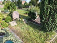 Grabstelle eines am 30. Juni 1945 in Beverstedt verstorbenen unbekannten sowjetischen Kriegsgefangenen und eines russischen Soldaten des Ersten Weltkrieges. Foto: L. Hellwinkel, 2020