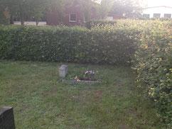 Grab eines unbekannten sowjetisches Opfers des Zweiten Weltkrieges. Es wurde 1976 aus einem Feldgrab zwischen Farven und dem Ortsteil Baaste hierhin umgebettet. Foto: L. Hellwinkel, 2019