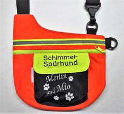 Schimmel-Spürhund, Gassitasche, tasche, Schimmelspürhund Halstuch, neonorange