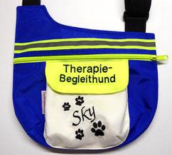 Therapiehund, Gassitasche, Halstuch,  bestickt, Nylon