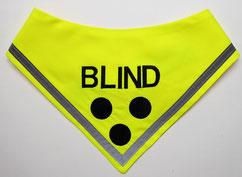 ,Blindenhalstuch, blind dog, halsduk, Blinden Logo, blinder Hund, Halstuch für blinden Hund,neongelb,Blindenhalstuch mit Name und Reflektor, blinder Hund