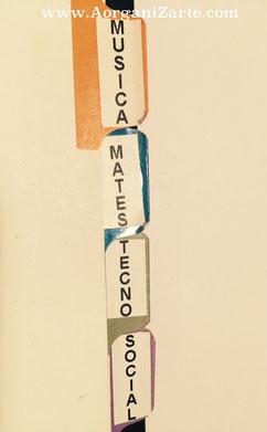 Divisores de carpetas y archivadores con etiqueta con un color por asignatura - AorganiZarte