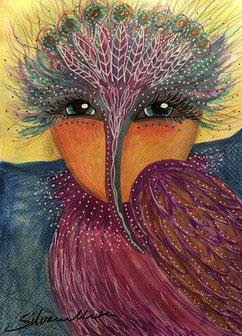 Vogelgestalt, Malerei, Illustration, Mischtechnik