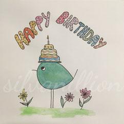 Piepmatz mit Torte auf dem Kopf (Geburtstagskarte), Illustration von silvanillion