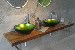 Lavabo da appoggio vetro decorato foglia oro