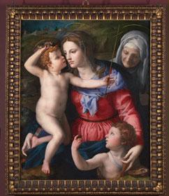 BRONZINO Madonna und Kind mit Heiligen NG5280  mit einem teilvergoldeten toskanischem Nussholz Kassettenrahmen, 1. Hälfte 16. Jahrhundert