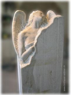 Paul Widmer Bildhauer Uetliburg SG Engel, Cristallina Marmor, diese Skulptur ist verkauft