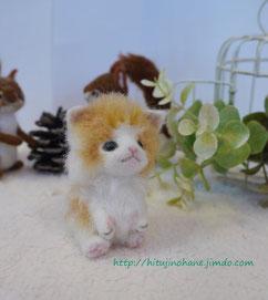 羊毛フェルト:手乗り猫 長毛レッドダビーlong fur tiny cat
