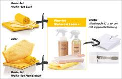 Wohn-Set Handschuh Art.Nr. 7362 oder Wohn-Set Tuch Art.Nr. 7361 zusammen mit Wohn-Set Leder+ Art.Nr. 7371 --> Gratis DuoPad mini Ø 9,5 cm, gelbe Faser und Lederbalsam mini, 50 ml