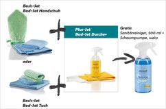 Bad-Set Handschuh Art.Nr. 7431 oder Bad-Set Tuch Art.Nr. 7430 zusammen mit Bad-Set Sanft+ Art.Nr. 7442 -->  Gratis Sanitärreiniger, 500 ml und Schaumpumpe, weiss