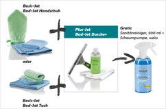 Bad-Set Handschuh Art.Nr. 7431 oder Bad-Set Tuch Art.Nr. 7430 zusammen mit Bad-Set Dusche+ Art.Nr. 7441 -->  Gratis Sanitärreiniger, 500 ml und Schaumpumpe, weiss