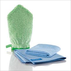 Bad-Set Handschuh Art.Nr 7431 • Reinigungshandschuh, grüne Faser • Profituch Plus M 40x45 cm blau • Trockentuch mittel 45x60 cm, blau • inkl. Klickbox