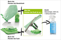 Fenster-Set Handschuh Art.Nr. 7220 oder Fenster-Set Tuch Art.Nr. 7215 zusammen mit Fenster-Set Profi 35 cm+ - Art.Nr. 7251 -->  Gratis Sanitärreiniger und Schaumpumpe im Wert von € 7.90