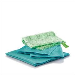 Küchen-Set Tuch Art.Nr. 7315 • DuoTuch 18x24 cm, grüne Faser • Profituch Plus M 40x45 cm, türkis • Trockentuch mittel 45x60 cm, türkis • inkl. Klickbox