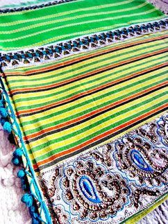 Tri-piece tri-coloured, 100%, medium-weight, flat-weave, Indian cotton throw, joined by white-cotton/metallic-thread lace & teal-green, bronze centre ribbon, with aqua/bronze sequence, paisley jari border & teal-blue trim