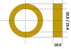 prodito reductiering 25.4mm naar 20.0mm voor modificatie van slijpschijf met boring 25.4 naar 20.0