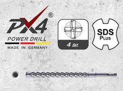 px4 hamerboren met 4 snijder en sds plus opname