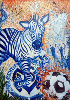 Das leidenschaftliche Zebra 100x70 Acryl auf Leinwand