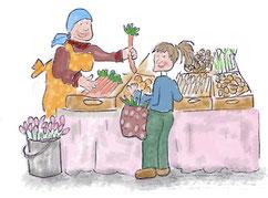 Einkauf auf dem Wochenmarkt Grafik