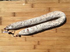 Chorizo d'Angus doux ou fort vendu en vente directe par la Ferme de Neuvy dans le Cher