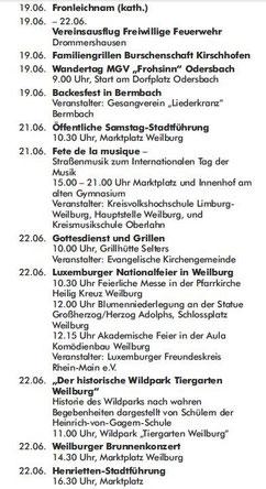 Veranstaltungskalender Weilburg 2014