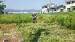 二日かけての草刈り作業730㎡あります