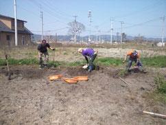 農地再生がれき撤去作業