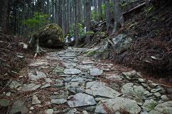 ひっそりと石畳みの坂道