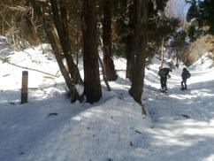 戸倉峠から赤谷山の登り口 道標あり