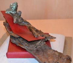 Cyrielle , sculpture bois , 20x12x11