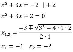 Beispiel für das Lösen von quadratischen Gleichungen