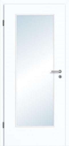 glatteTür Weißlack 3.0 Extraweiß, Designkante |Lichtausschnitt LA 001 | Zarge Weißlack 3.0 Extraweiß, Designkante 70 mm