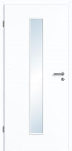 Glatte Tür Weißlack 3.0 Extraweiß, Designkante |Lichtausschnitt LA 008 M | Zarge Weißlack 3.0 Extraweiß, Designkante 70 mm