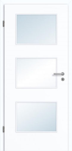 glatteTür Weißlack 3.0 Extraweiß, Designkante |Lichtausschnitt LA 003 | Zarge Weißlack 3.0 Extraweiß, Designkante 70 mm