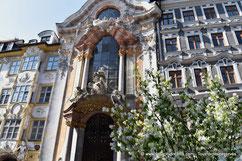 La façade rococo de l'église Asamkirche à Munich