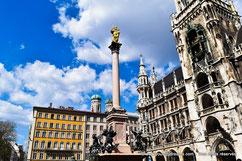 Voyage - Découvrez la Marienplatz avec son hôtel de ville néo gothique en plein centre ville