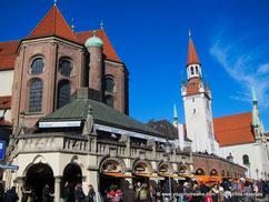 Tour de Munich - Café Richart surplombant le marché aux victuailles