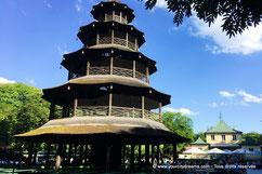 La tour chinoise et son Biergarten dans le jardin anglais de Munich