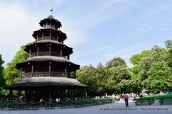 La tour chinoise du Biergarten du jardin anglais de Munich