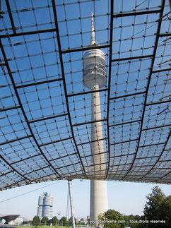 La Fernsehenturm à travers les toits du parc olypmique