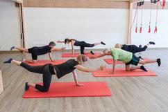 Stabilisation, Beweglichkeit, Ausbalancierung durch Übungen aus dem Yoga, dem Funktionellen Training, der Spiraldynamik und dem Redcordtraining.